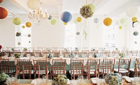 Loft Eleven NYC reception hall with paper lanterns