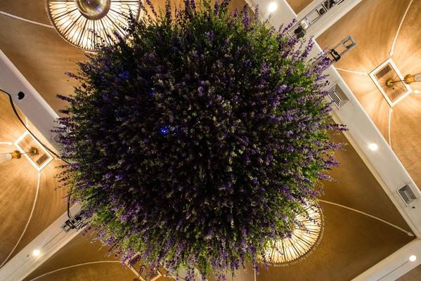 greenery, flowers hanging, floral chandelier, garden-inspired reception