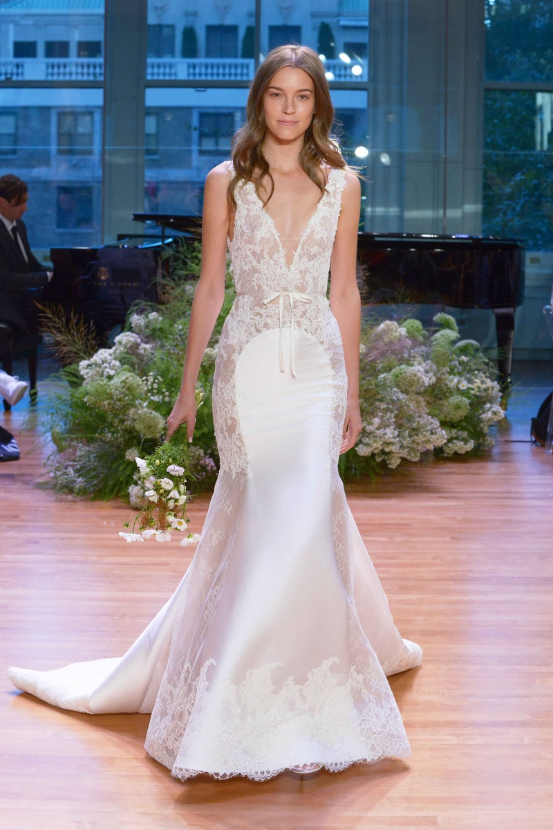 Wedding dresses photos remember by monique lhuillier inside monique lhuillier fall 2017 bridal collection remember wedding dress plunging v neck lace trumpet junglespirit Gallery