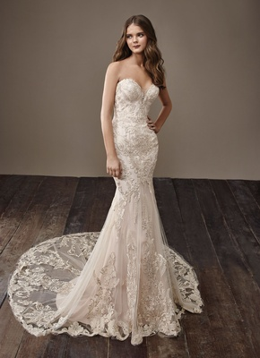 53ab49d5af41 Badgley Mischka Bride 2018 collection wedding dress Breanne strapless bridal  gown blush champagne.