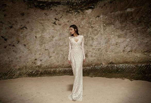 Limor Rosen 2017 Surma wedding dress long sleeve beaded Tribal Collection