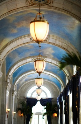 Arched ceiling decorated with paintings of clouds