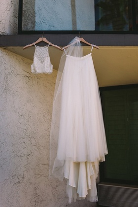two piece wedding dress from bhldn, crop top wedding dress from bhldn