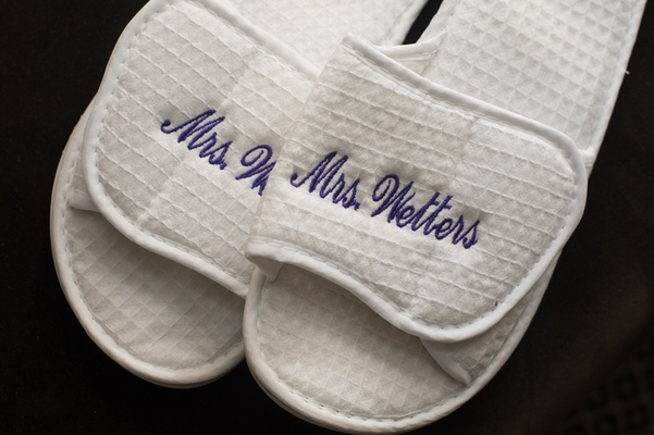 embroidered slippers with bride's married name