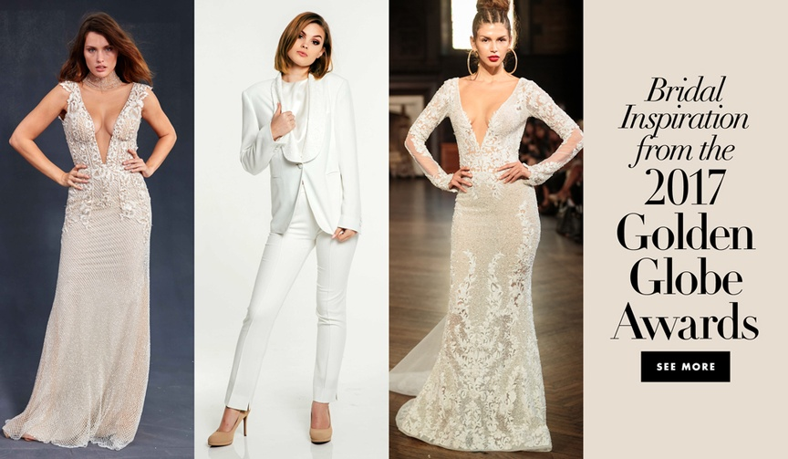 Wedding dresses and jumpsuits inspired by celebrity looks from the 2017 Golden Globe Awards