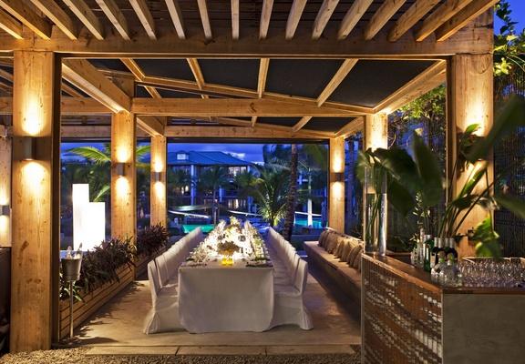 Wedding reception on patio at W Retreat & Spa, Vieques Island