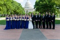 Bridesmaids and groomsmen with United States Capitol backdrop