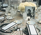 Art Deco wedding reception decorations on table