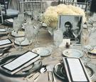 Art Deco wedding reception decorations on table