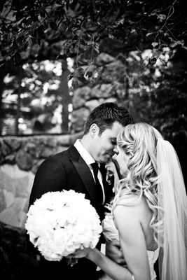 Black and white photo of bride and groom portrait