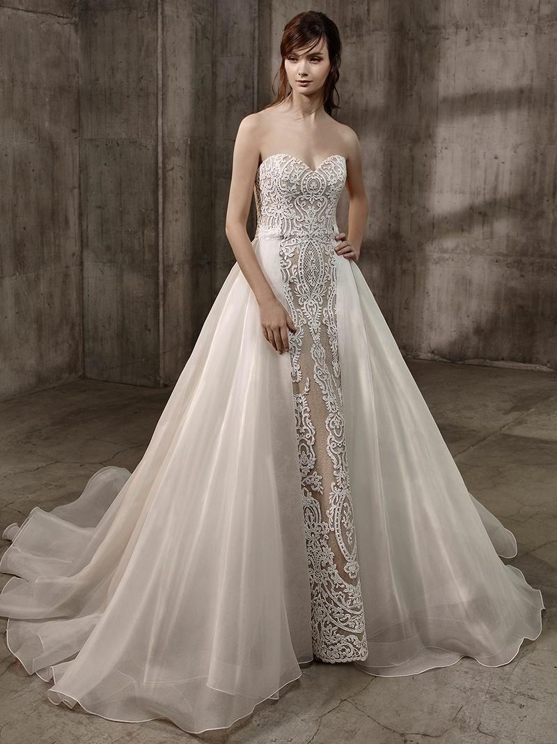 nude wedding dress Badgley Mischka Bride Amal strapless sweetheart neckline wedding dress nude underlay embroidery