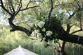 White roses and flowers in ceremony tree