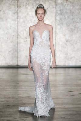 Inbal Dror Fall 2018 Strapless 3-D sunflower lace sheath dress