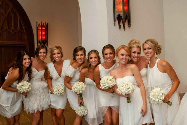 Mismatched short bridesmaid dresses in white