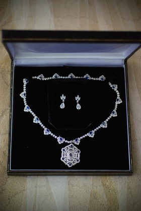 Diamond and sapphire necklace and earrings