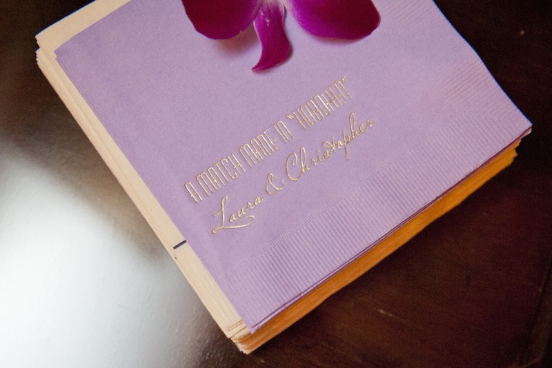 """Wedding cocktail napkins with the couple's names and """"A Match Made in 'Hoboken'"""" quote"""