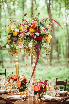 Tall flower arrangements wedding centerpiece designs inside gold candelabra centerpieces with fall wedding flowers junglespirit Images
