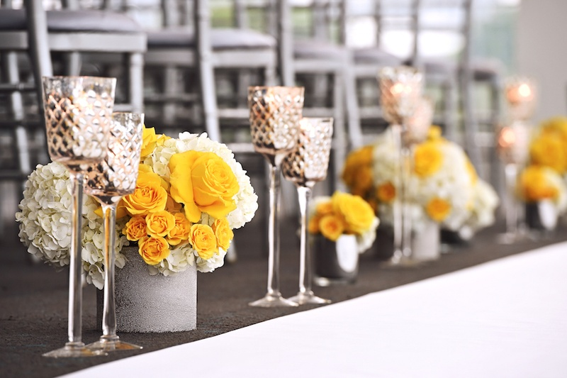 Ceremony dcor photos small yellow white arrangements with wedding reception with low bouquets of yellow rose and white hydrangea flowers in silver containers junglespirit Gallery