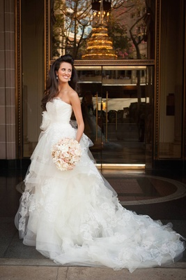 Vera Wang Tiered Ball Gown With Lace Applique Details