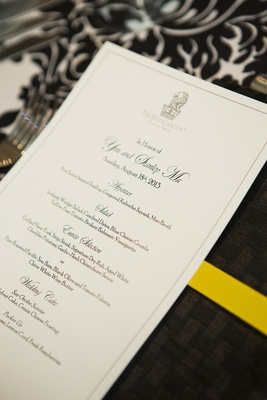 Wedding menu with Ritz-Carlton logo at top
