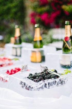 Wedding ceremony champagne served in ice bar with blackberry strawberry raspberry champagne moet