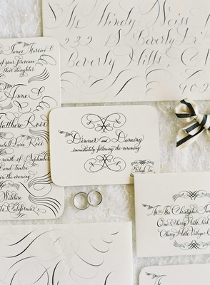 Lehr and Black calligraphy invitations