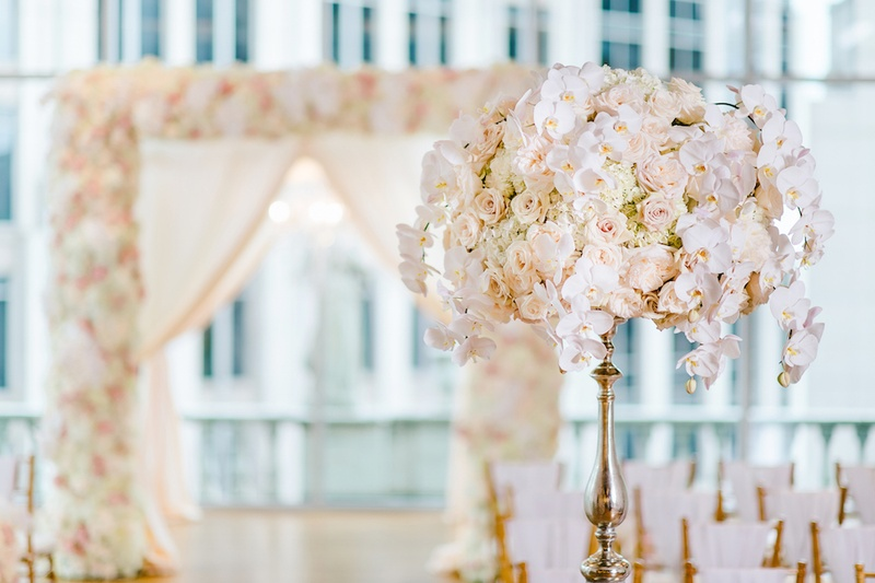 Silver riser with white hydrangea, white orchid, pink rose flower arrangement