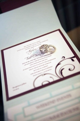 Engagement ring and wedding band on invites