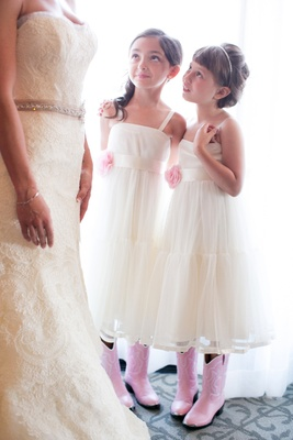 Rustic country wedding pink flower girl cowboy boots