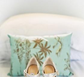 Jimmy Choo wedding heels with silver snakeskin