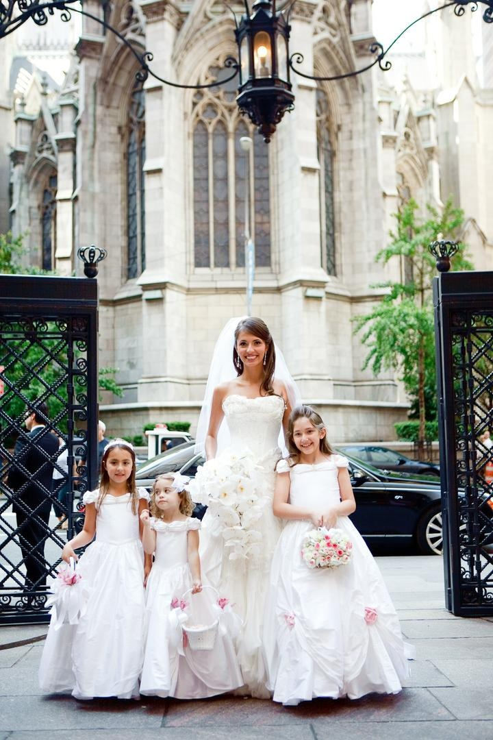 Flower girls ring bearers photos bride and flower girls inside ivory bridal gown and white flower girl dresses mightylinksfo