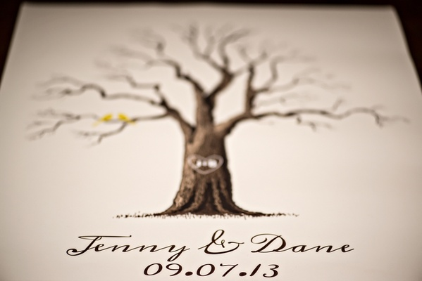 wedding program decorated with drawing of bare tree
