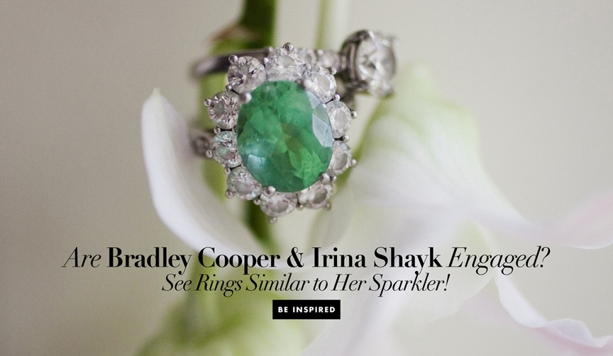 bradley cooper and irina shyak engaged, emerald engagement ring diamond halo