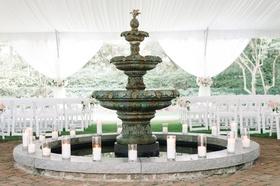 historic fountain candles wedding ceremony south carolina love classic outdoor tented bricks stone