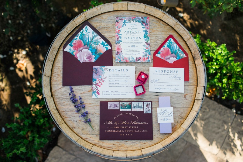 watercolor red blue blue pink wedding invitations paper products pattern design red ring box