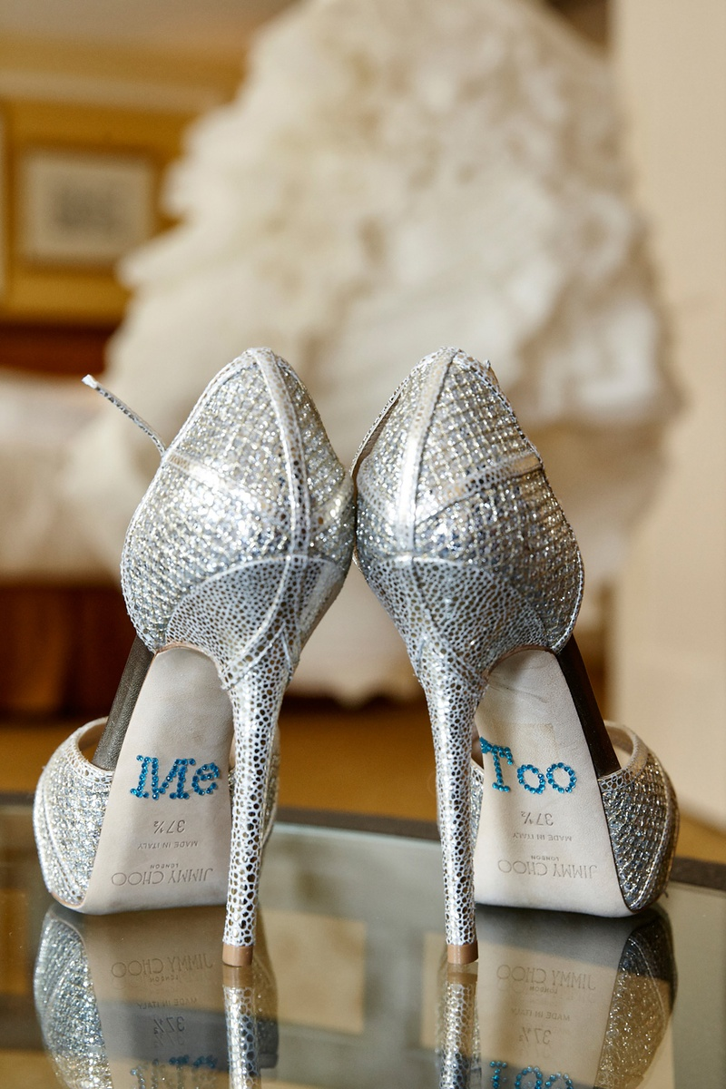 dcb2d54e203 Sparkling Bridal Heels with Decals. 0 Favorites; 0 Repins. sparkly silver jimmy  choo wedding shoes ...