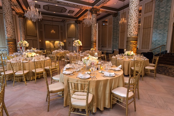 wedding room decoration pictures ceremony hotel reception with gold color scheme in 1089