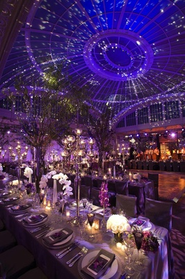 Opulent wedding reception with star-like ceiling treatment