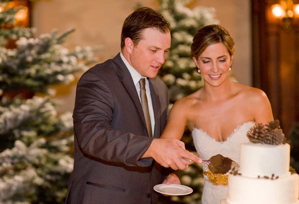 Bride and groom cutting winter-inspired cake