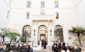 james leary flood mansion san francisco wedding ceremony, guests seated during vows