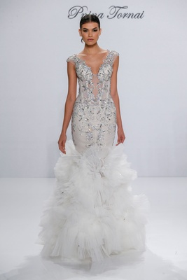 Pnina Tornai for Kleinfeld 2017 Dimensions Collection mermaid wedding dress tulle ruffle skirt beads
