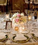 pink and ivory roses for small centerpiece, gold-rimmed chargers