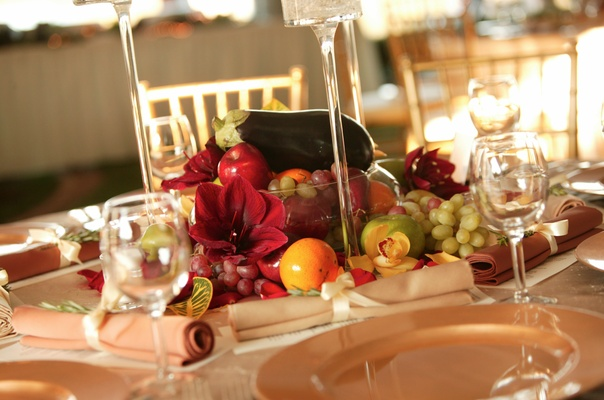 Fall themed centerpiece with fruit and vegetables