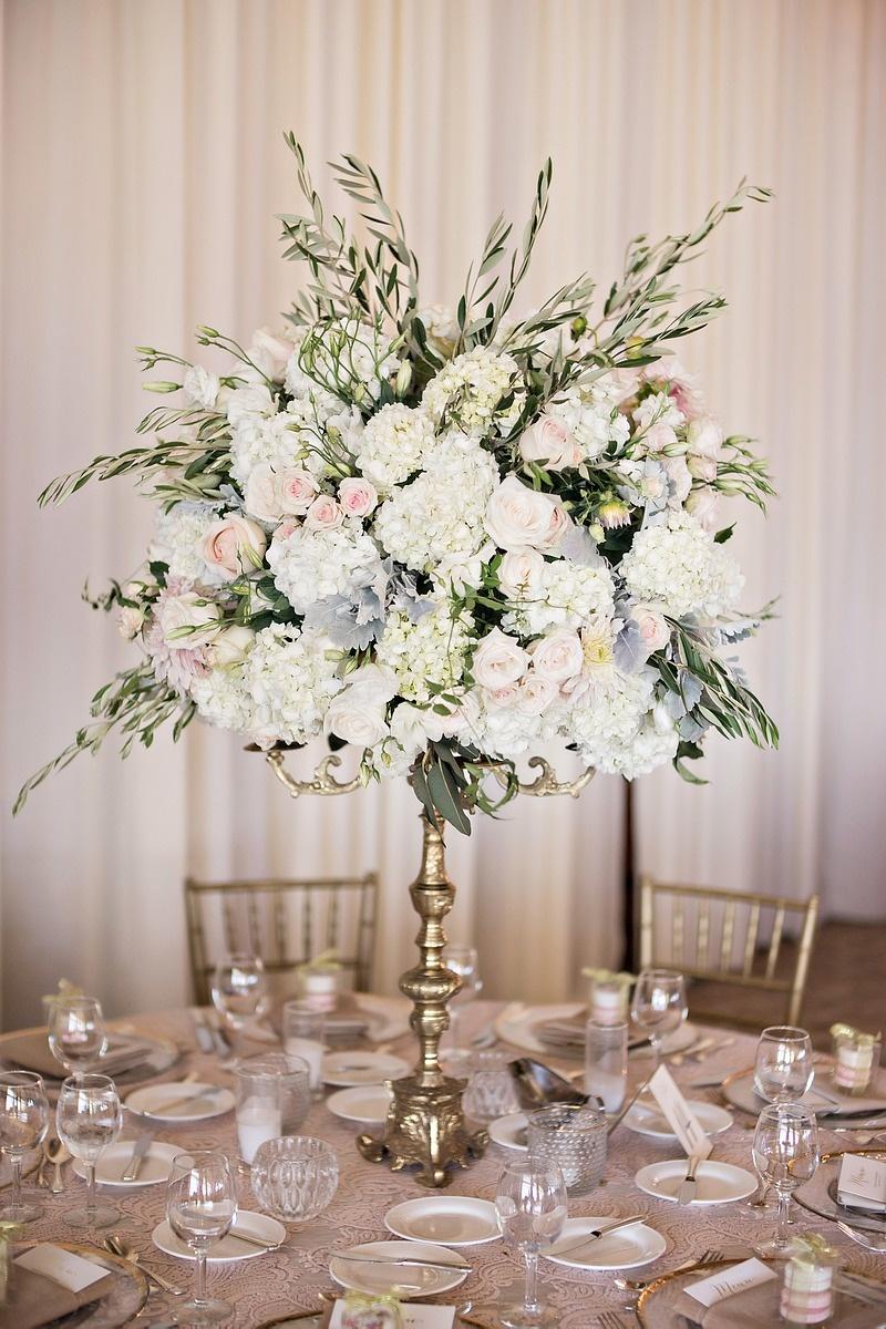 Reception dcor photos floral arrangement held by golden gold candelabra garden roses hydrangea jasmine vine candles izmirmasajfo