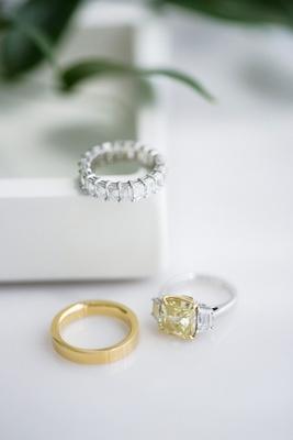 yellow gold engagement ring side stones gold men's wedding band women's eternity wedding band