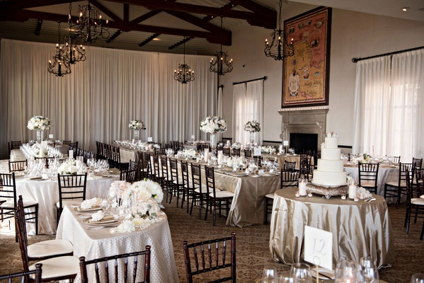 Wedding at bel air bay club long square round tables high and low centerpieces cake display