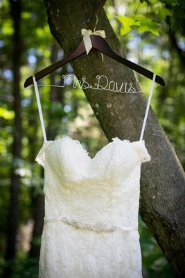 Mrs. Davis clothing hanger custom lace wedding dress