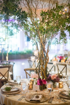 wedding reception tree as centerpiece, natural, organic themed wedding