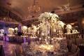 Opulent ballroom wedding with crystal flower arrangements