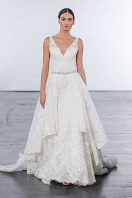 Dennis Basso for Kleinfeld 2018 collection wedding dress v neck lace gown detachable skirt belt